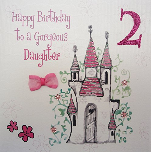 WHITE COTTON CARDS Princess Castle Happy Birthday To A Gorgeous Daughter Handmade 2nd Card