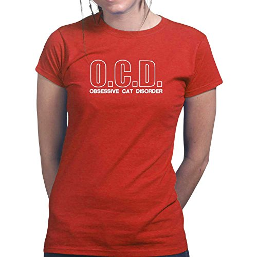 OCD Obsessive Cat Disorder - Kitty Kitten Pet Ladies T Shirt (Tee, Top) Red