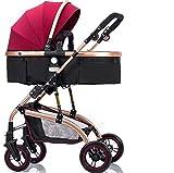 AGGK Kinderwagen Kombikinderwagen 3in1 mit Buggy Babyschale Klappbare Federung, Red