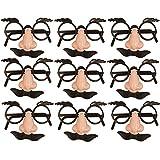 German Trendseller® - 6 x Spaß Brillen mit Nase + Bart ┃ Dude ┃ Opa ┃ Professor ┃ Fasching ┃ Karneval ┃ Party Nasen ┃ 6 Stück