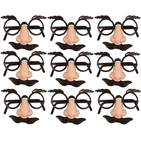 German Trendseller® - 12 x Spaß Brillen mit Nase + Bart ┃ Dude ┃ Opa ┃ Professor ┃ Fasching ┃ Karneval ┃ Party Nasen ┃ 12 Stück