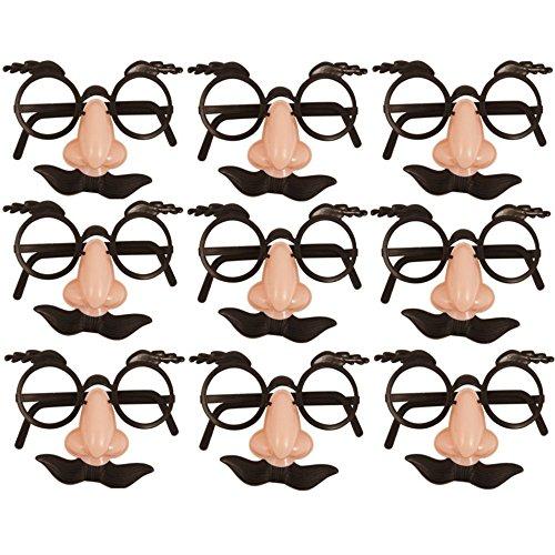 German Trendseller® - 12 x Spaß Brillen mit Nase + Bart ┃ Dude ┃ Opa ┃ Professor ┃ Fasching ┃ Karneval ┃ Party Nasen ┃ 12 (Für Kinder Black Swan Kostüm)