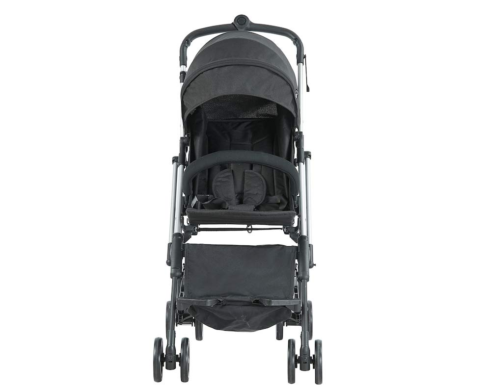 Roma Capsule² Compact Airplane Travel Buggy from Newborn Only 5.6 kgs - Black with Silver Shimmer Chassis Roma Compact lie-back stroller - suitable from newborn to 15 kgs Includes rain cover, insect net, travel bag Locked and swivel wheels, shopping basket, 6
