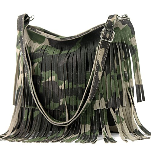 modamoda de - T125 - ital Schultertasche Fransen Wildleder, Farbe:T125 Camouflage -