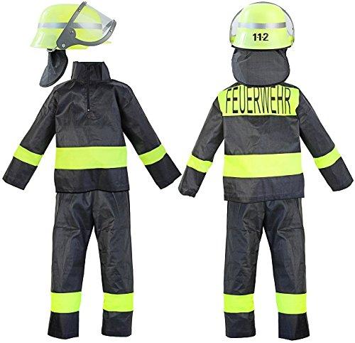 Kinder-Kostüm Feuerwehr-mann Kostüm Gr. 10 128-134 Feuerwehr-Kostüm Feuerwehr-Uniform Hose Jacke Fasching-Kostüm Karneval-Verkleidung THW Anzug zum Feuer-Löscher Feuerwehr-Helm (Feuer Mann Kostüm)
