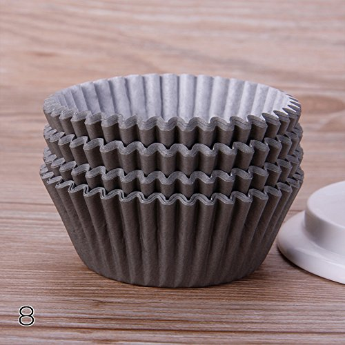 rungao 100Backförmchen/Cupcake-Papier/Cupcake Liners Farbe Fall Hochzeit Wrapper Muffin Cupcake Müllbeutel coffee (Cupcake Brown Ein Stück Kuchen)