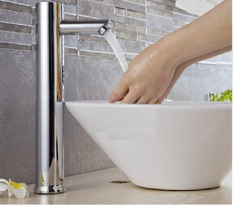 Hands Free Automatic Sensor Chrome Faucet,Bathroom Basin Water Tap Sink Mounted 6V Battery Power