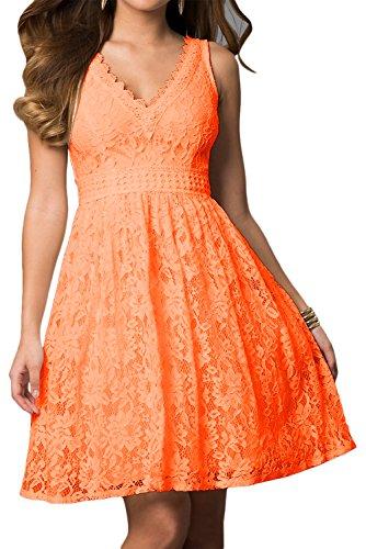 TOSKANA BRAUT Festlich Rosa V-Neck Spitze Brautkleid Kurz Cocktailkleider Zwei-Traeger Abiballkleider Partykleid Abendkleid Orange