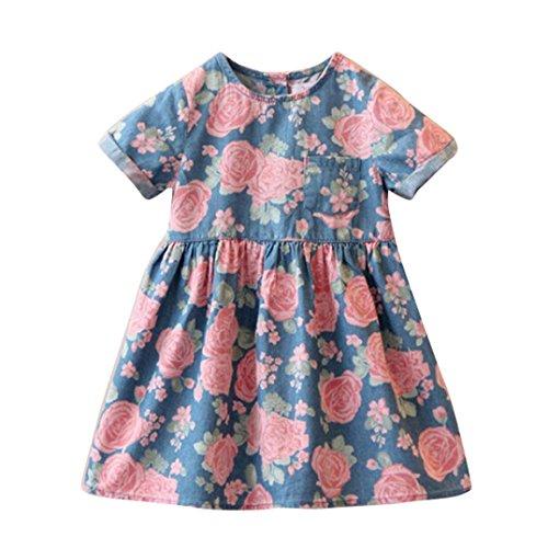 Kinder Mädchen Kleid AMUSTER Mädchen Crewneck Blumen Baumwolle Kleid Mädchen Kleider Festlich Kurzarm (Größe: 90-120)
