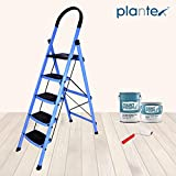 Plantex Prime Steel Folding 5 Step Ladder for Home - 5 Wide Anti Skid Steps (Blue & Black)