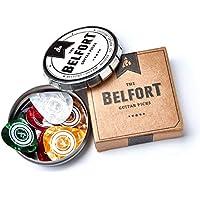 Belfort 16 hochwertige Plektren für Gitarre in edler Box ★ Gitarren Plektrum aus extrem robustem Celluloid ★ 4 verschiedene Stärken: 0.46-1.20mm | BONUS: Gratis Ebook