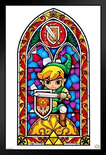 Pyramid America Legend of Zelda Buntglas-Schwert Schild für Videospiele 12x18 inches Framed Poster