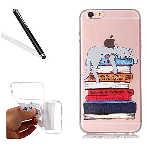 Chiaro Custodia pour iPhone 6S,Transparent Cover pour iPhone 6,Leeook Creativo Carina Divertente Sottile Crystal Clear TPU Gel Silicone Custodia Libro Pigro Gatto Design Morbida Flessibile Cristallo C Livre Paresseux Chat
