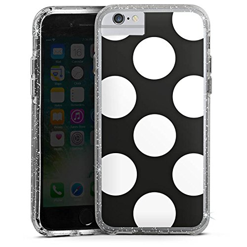 Apple iPhone 6s Bumper Hülle Bumper Case Glitzer Hülle Dots 50s 50er Bumper Case Glitzer silber