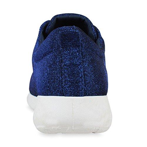 Damen Herren Sneaker Sportschuhe schwarz Turnschuhe Runners mit Blumen Print in mehreren Farben Blau Glitzer
