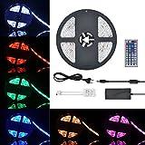 COSANSYS LED Strip RGB LED Streifen Set 5M SMD 5050 300LEDs IP65 Wasserdicht Lichtleisten Farbwechsel LED Strip Lichtband mit 44 Tasten IR Fernbedienung 12V 5A Netzteil