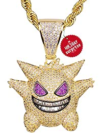 "TSANLY Gengar Chain Necklace Pokemon Diamonds Necklace White Gold Plated with Killy Pendant Ice Out Hip Hop Medallion 24"" Rope Chain Storage Case + Microfiber Cloth"