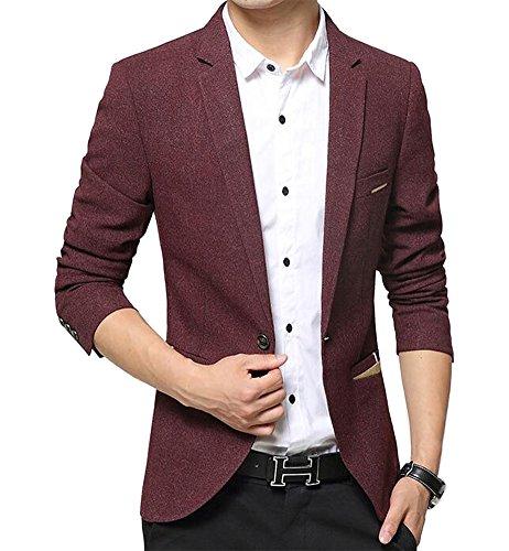 Benibos Herren Premium Ein Knopf Slim Fit Blazer Anzugjacke Burgunderfarben