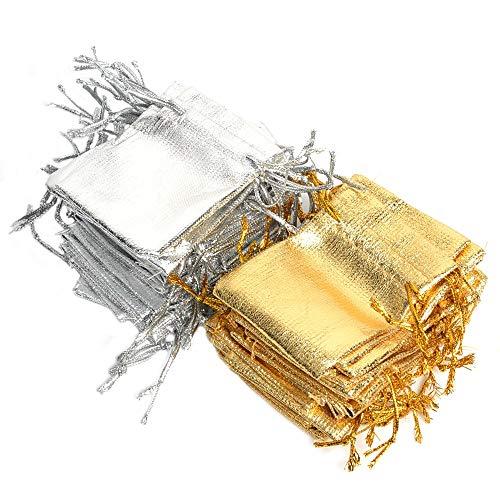 500 PCS Silber und Gold Organza Taschen mit Drawstring Party Hochzeit Lieblings Geschenke Taschen Candy Ohrringe Schmuck Taschen (100 pcs Mix Gold Silber,) -
