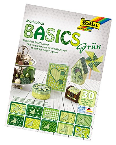 folia 46549 - Motivblock Basics grün sortiert, 24 x 34 cm, 30 Blatt - Grundlage für hochwertige Bastelarbeiten -