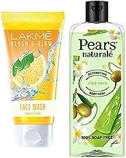 Lakmé Blush and Glow Lemon Fresh Facewash, 100g & Pears Naturale Detoxifying Aloevera Bodywash, 250 ml