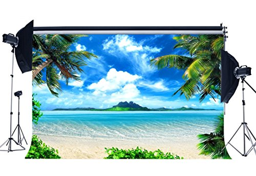 b1869a4fc174 SUNNY Star 7 x 5ft Seaside Playa de arena fondo Isla Coco Palm azul cielo  blanco