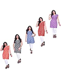 Kurtis Thari Choice Women Multi Colored Sleeveless Cotton Printed Kurtis For Women And Girls