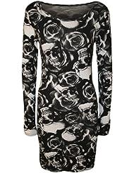 WearAll - Damen Totenkopf Rosen Druck Langarm Figurbetontes Mini-Kleid Top - Größe 36-42