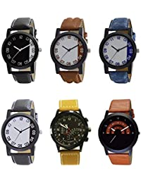NEUTRON Treading 3D Design Black Blue And Brown Color 6 Watch Combo (B38-B39-B40-B41-B42-B46) For Boys And Men