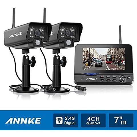 [Mejorado 600TVL HD] ANNKE Kit de 2 Cámaras de Vigilancia Seguridad (Onvif H.264 CCTV DVR P2P 4CH AHD 960H y 2 Camaras IP 600TVL IP66 Impermeable, IR-Cut, Visión Nocturna Hasta 20M, Exterior y Interior, HDMI) - NO Disco Duro