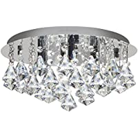 Modern Round Chandelier Ceiling Light Crystal Rain Droplet Reflective Silver Base STX50019-4D