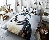 Gaveno Cavalia Premium Colleciton 3D Husky Bettwäsche Set mit Bettbezug und Kissen Fall Double, Multi