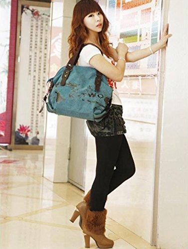 Minetom Damen Fashion Vintage Canvas Umhängetasche Handtasche Messenger Taschen Leinwand Tasche Blau