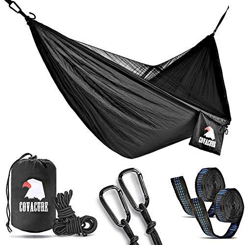 COVACURE Camping Hamaca con Mosquitero, Doble Portátiles al Aire Libre Ligero Hamaca de Nylon para Camping Excursiones de Senderismo Viajes y Jardín - 350kg de Capacidad de Carga