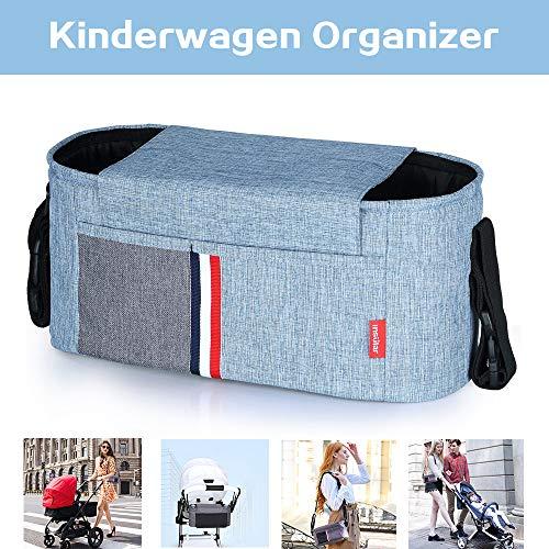 Buggy Organizer, Kinderwagen Organizer Universale Kinderwagentasche Stroller Organizer mit Reißverschlusstasche Stroller Bag mit Verstellbaren Bändern, Multifunktionale Buggy Tasche, Blau