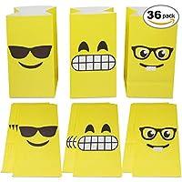 36 Bolsas de Regalo de Emoji - Bolsas Detalles y golosinas Ideal para Fiestas y cumpleaños, Eventos con niños y en el Colegio.