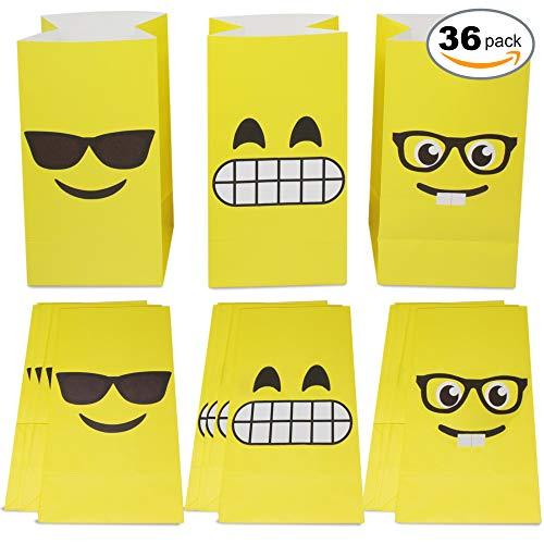 36 sacchetti regalo emoji - borse di carta di alta qualità ideali per feste di compleanno ed eventi scolastici per bambini