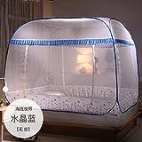 Mayihang Zanzariera Mongolia Borsa Zanzariera 1.2 metri Bed libera installazione tre aprire 1,5M/1.8M letto Double Top domestico,mare mondo fondo blu chiaro [Indietro] Forma,1,2M (4 piedi) Letto