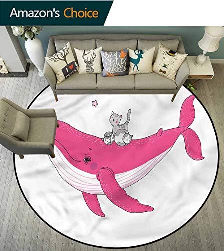 RUGSMAT Whale Super weiche runde Teppiche für Mädchen, Sonnenschiff Cartoon-Schutz Böden während der Sicherung des Teppichs zum Absaugen, Polyester-Mischgewebe, Style-06, Diameter-24 -