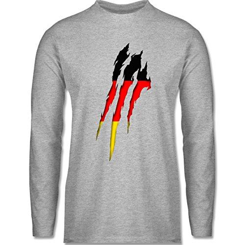 Länder - Deutschland Krallenspuren - Longsleeve / langärmeliges T-Shirt für Herren Grau Meliert