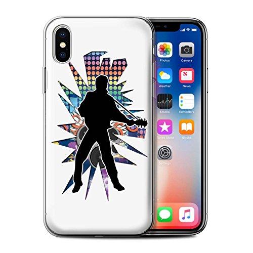 Stuff4 Gel TPU Hülle / Case für Apple iPhone X/10 / Gefühl/Emotion Weiß Muster / Rock Star Pose Kollektion Elvis Weiß