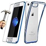 E.F.Connection [Pack] Coque iPhone 6 / 6s (4.7'') Housse TPU Silicone Transparent Contour coloré Bleu avec [ Film Protection d'écran en Verre Trempé 0.30mm Offert]