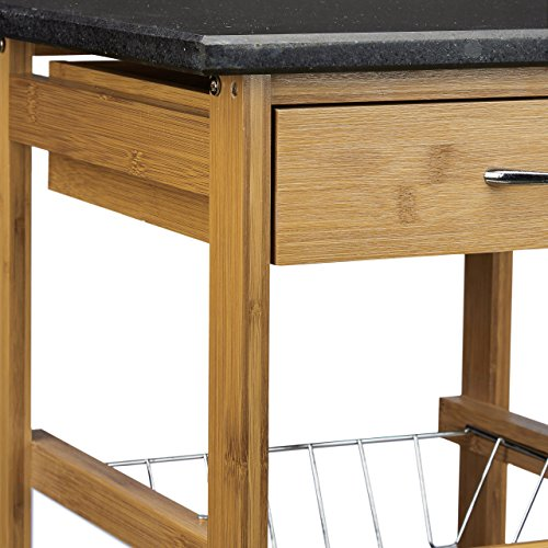 relaxdays k chenwagen bambus alfred s mit schwarzer marmorplatte hbt 82 5 x 37 5 x 37 5 cm. Black Bedroom Furniture Sets. Home Design Ideas