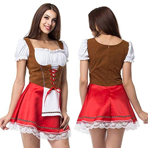 eer Bar Maid Outfit Adult Cosplay Kostüm Halloween Party Dress Up Drama Dress Large Size ()