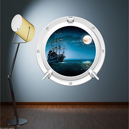 Full Farbe Pirat Schiff Meer Bullauge Wand Aufkleber Kinder Schlafzimmer Badezimmer Aufkleber wsd624