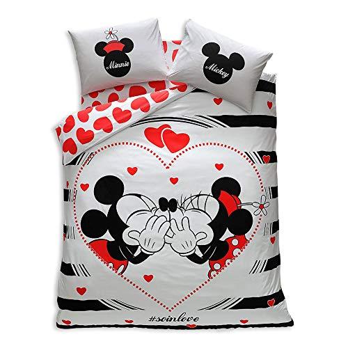 Minnie & Mickey Valentine 's Day Amour SO in Love, Bettbezug Set, 100% Baumwolle, doppelte Größe, 4Stück (Minnie Voller Größe Bettwäsche-set)