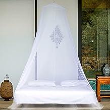 Even Naturals Moskitonetz für Doppelbett rundes Mückennetz Bett, weißer Insektenschutz, L1270xH254cm