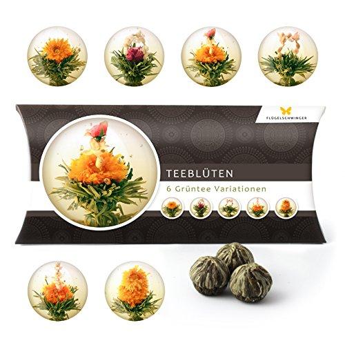 6 Teeblumen Geschenk-Box - Grüntee Variationen, Originelle Geschenk-Idee zum Geburtstag, Muttertag oder als kleine Aufmerksamkeit, tolles Geschenk nicht nur für Frauen und Teeliebhaber, Teeblüten, Erblühtee