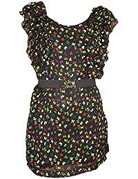 Scoop Neck Belted Butterfly Print Chiffon Mini Dress / Tunic. Sizes 8 & 14