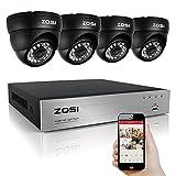 ZOSI 8CH 720P DVR - 4 Caméra de Surveillance 1500TVL Vision Nocturne 65ft 24 Leds IR - Système de Séruité Jour & Nuit - Code QR pour Accès à distance par Smartphone